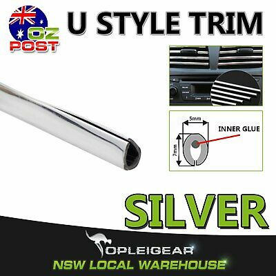 10M Chrome Silver U Moulding Trim Car Door Air Vent Grille Edge Strips Protector
