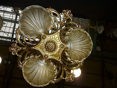 Antique chandelier ART NOUVEAU with french glass. Really beautiful