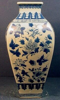 Antique Chinese Blue & White Porcelain Blown-Out Square Tapering Vase
