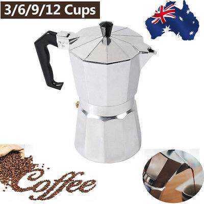 1 3 6 9 CUP PERCOLATOR Espresso Coffee Maker Aluminium Perculator Stove Top Moka