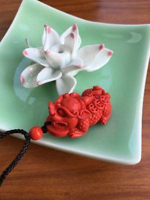 Chinese Natural Red Organic Cinnabar PiXiu Lucky Amulet Necklace Pendant