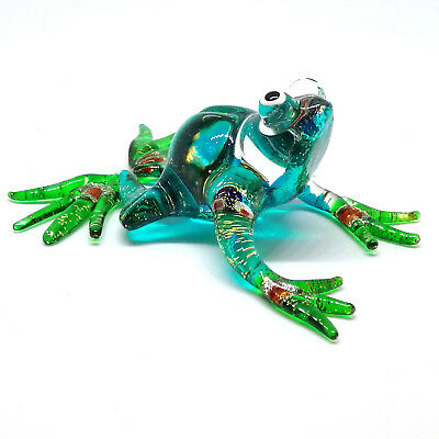GLASS FIGURINE Blue Frog Lampwork MINIATURE HAND BLOWN Art Garden Decor Statue