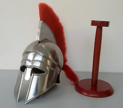 Medieval Knight Greek Corinthian Helmet With Red Plume & Stand Armor Halloween