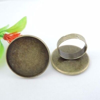 39376 Antique Bronze Iron Round Charms Ring Cameo Setting Inner 25*25mm 17PCS