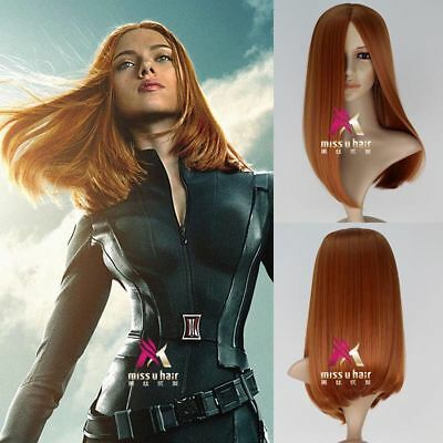 Captain America Black Widow Natasha Romanoff Long Straight Synthetic Cosplay Wig