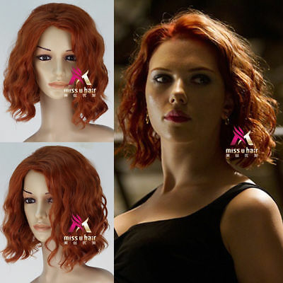 The Avengers Black Widow Natasha Romanoff Short Curly Synthetic Cosplay Wig