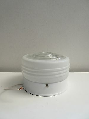 Vintage Retro 60's Small Frosted Glass Bathroom Hall Ceiling Fixture NOS! Nice!