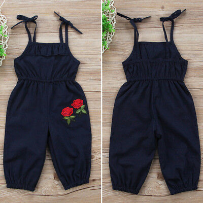 Lovely Baby Girl Strap Jumpsuit Casual Rose Romper Overalls Clothes Playsuit set