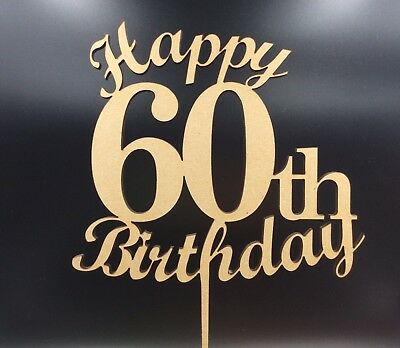 1Pc Laser Cut Cake Wood Topper Happy 60th 60 Birthday Party Decoration Supplies