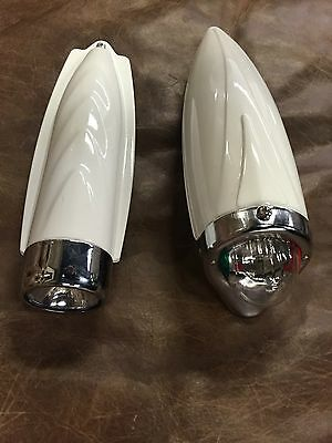 Bicycle headlight Two Tone  vintage retro white and chrome bike lights  LOT OF 2