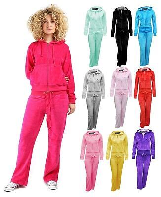 New Kids Girls Velour Celeb Hooded Zip Pocket Jogging Bottom Tracksuit Set 7/13