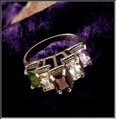 Gorgeous Vintage Sterling Silver 5  Marquise Gemstone High Gallery Ring sz 7 1/2