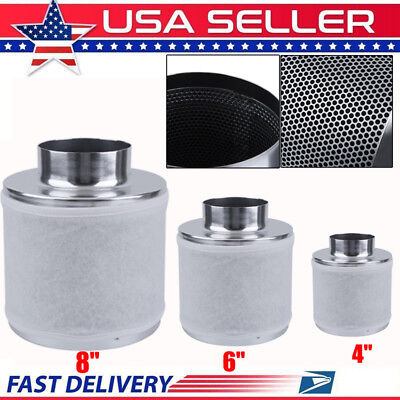 "4"" 6"" 8"" Air Carbon Filter for Inline Fan Scrubber Virgin Charcoal Odor Control"