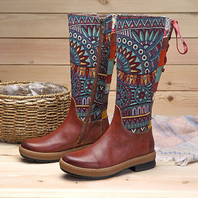 SOCOFY Women Bohemian Splicing Pattern Flat Ethnic Shoes Leather Knee Boots