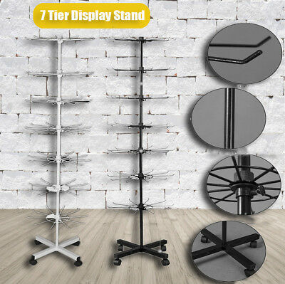 retail 7 tier metal rotating display stand jewelry display with hook
