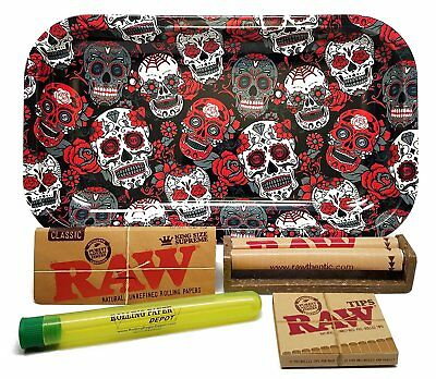 Bundle RAW King Size PAPERS TIPS ROLLING MACHINE 110 Roller Tips Tray Skulls