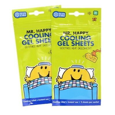 Mr. Happy Children's Cooling Gel Sheets. ( 4 )  Soothes for 4 hours Fast Acting