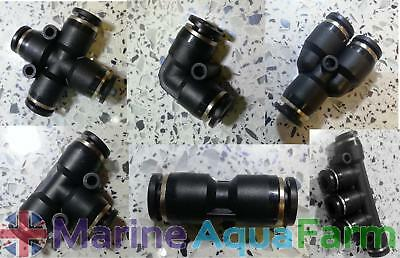 AQUARIUM CO2 CONNECTORS 6mm, ELBOW TEE COUPLER Y X SPLITTER 5 4 WAY PLANTED TANK
