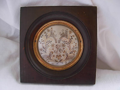 SUPERB ANTIQUE FRENCH FRAMED MOURNING HAIRWORK,LATE 18th CENTURY