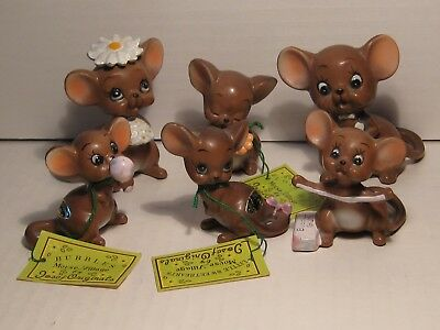 Josef Originals ~ Mouse ~ 6 different brown mice  ~ Lot # 3 ~ Bride & Groom