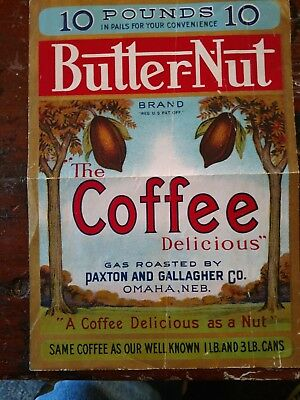 VERY RARE 1929 10 Pound BUTTER-NUT Coffee Tin Can Label Calvert Litho file copy