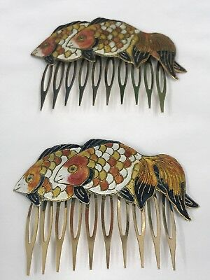 Vintage Pair of Cloisonne Enamel Orange Goldfish Hair Combs Gorgeous - Colors