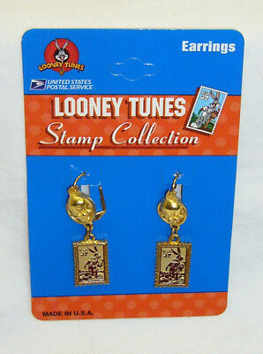 New Looney Tunes Bugs Bunny & Tweety Bird USPS Stamp Gold Finish Earrings 1997