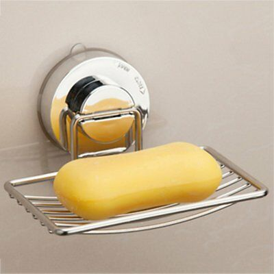 Stainless Steel Wall-mounted with Strong Vacuum Suction Cup Soap Dish Holder AU@