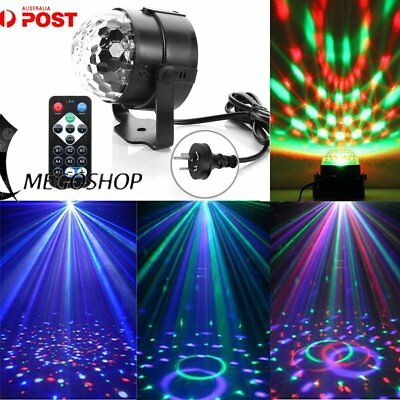 RGB LED Disco Party Crystal Magic Ball Stage Effect Light Lamp W/ Remote 5 FNMU@