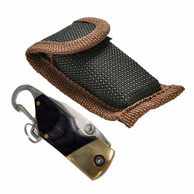 New Portable Folding Knife Outdoor Camping Survival Ebony Handle KeyChain AU@