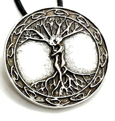 Odins Ask & Embla Ash Elm Tree of Life Masculine Feminine Pendant Cord Necklace