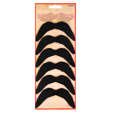 Pack of 6 Black Mexican 70`s Stick on Fake Moustache Self Adhesive Party Joke
