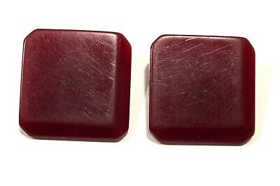 Lot of TWO Red Translucent Square Old Vintage BAKELITE Sewing Buttons VBL307
