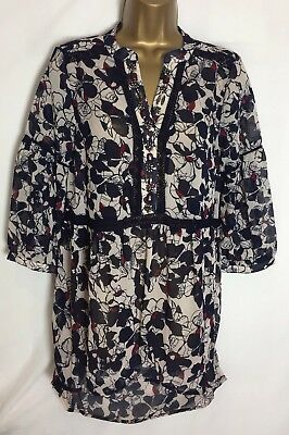 New M/&S Navy Beige Chiffon Style Embellished Tunic Top 6-18 ms-155h
