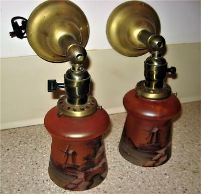 Vintage Matched Pair Of Hand Painted Light Shades With Matched Brass Fixtures