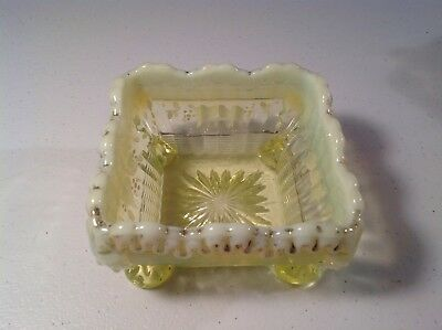 Antique Northwood 1890's Opalescent Vaseline Glass Berry Dish