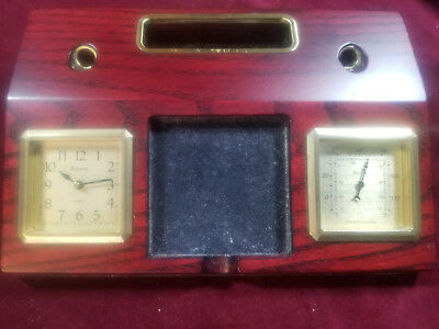 Bulova Executive Desk Set Cherry Wood w/ Clock & Thermometer