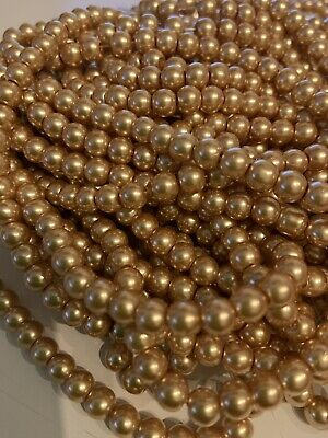 Gold Round Glass Pearl Beads 4mm 6mm 8mm 10mm Premium Quality Weddings Crafts
