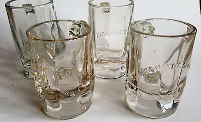 """Vintage Lot 4 RICHARDSON ROOT BEER Embossed Soda Pop Mugs 5"""" and 5 1/2"""" Tall"""