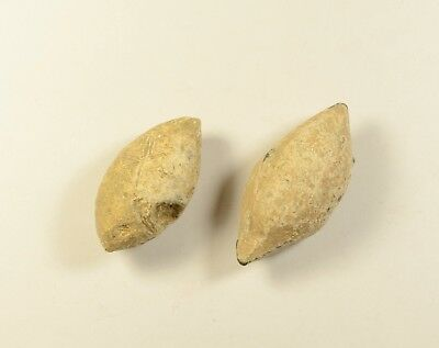 LARGE SIZE - Ancient Greek Military Lead Sling Bullet Shot - LOT OF 2