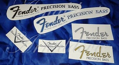 Decalcomania Decal Fender Precision Bass Serial Number Blue/Black/Gold /Grey
