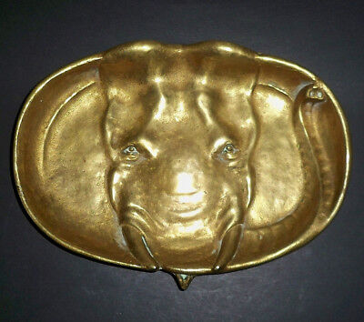Vintage English Art Nouveau Unusual Heavy Cast Brass Elephant Tray / Dish