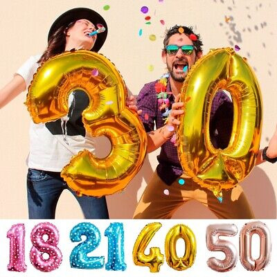 16 18 20 21 30 40 50 60 Gold Number Foil Balloons Helium Happy Birthday Decor