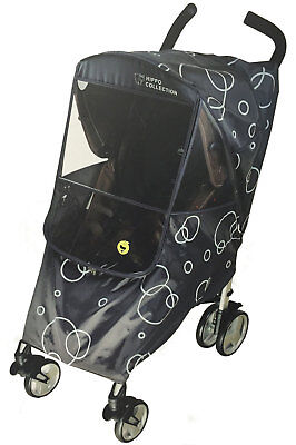 Hippo Collection Universal Stroller Weather Shield Black with Circular Design