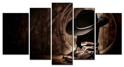 Wall Art Canvas Western Cowboy Hat Boots Rope Home Office Bar Decor 5 Pc NEW