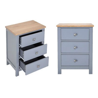 Bedside Table Solid Oak Unit Cabinet Nightstand with 3 Drawers Cupboard Bedroom