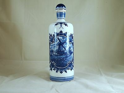 "Vintage Hand Painted DelftBlue Eleeva 10 1/2"" Decanter w/Top made in Holland"