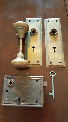 1800's Russell & Erwin Rim Lock, skeleton Key, door knob and Plates