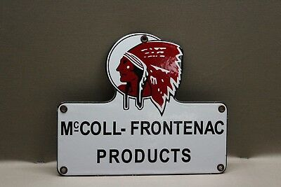 RED INDIAN MCcOLL-FRONTENAC PORCELAIN SIGN GAS OIL CAR SERVICE MAN  FARM 66