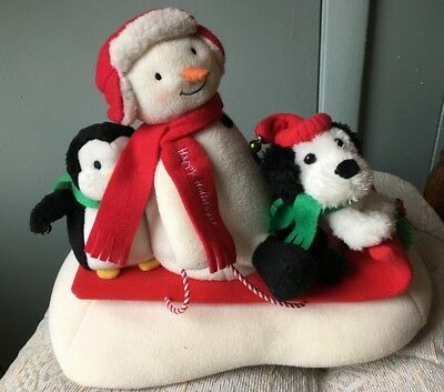 2007 Hallmark Jingle Pals Snow What Fun Sledders Snowman Penguin Dog Christmas